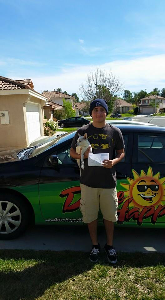 Niko passes the Drive Test in Temecula with Drive Happy