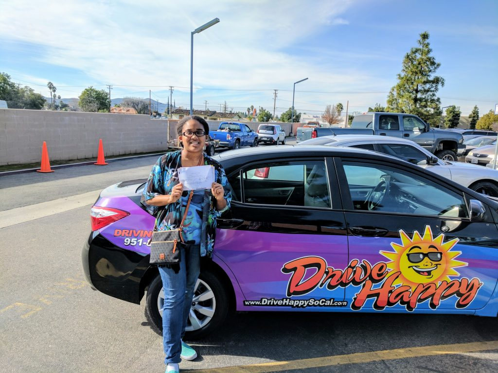 Nadia passes the Drive Test in Hemet with Drive Happy!