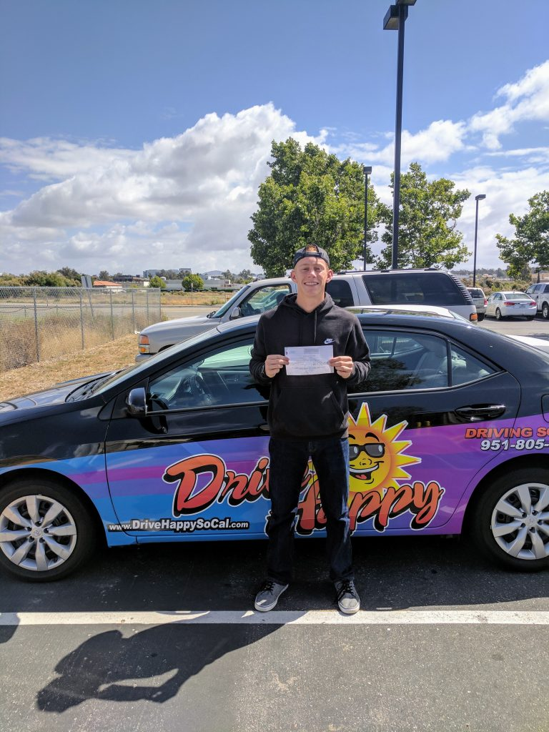 Drive Happy student Michael from Wildomar passes the DMV Drive Test in Temecula