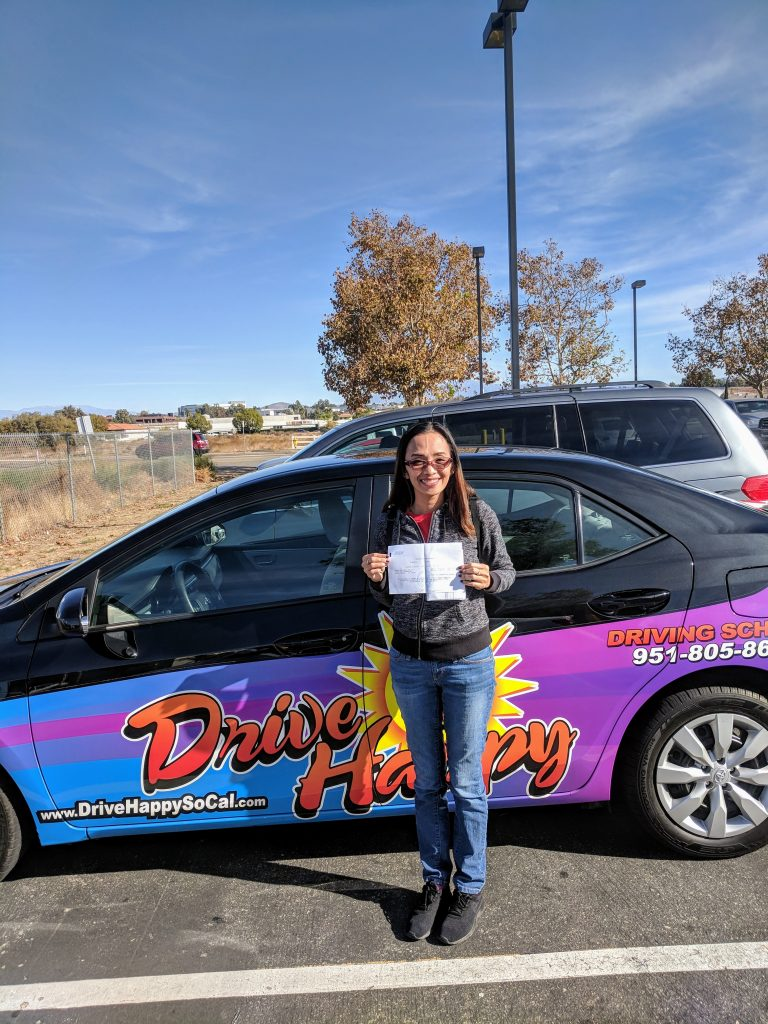 Krstine from Canyon Lake passes the DMV Drive Test with Drive Happy!