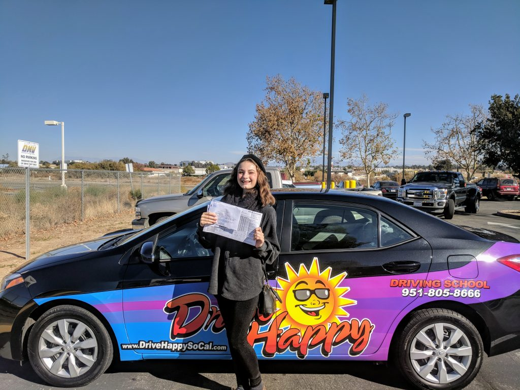 CONGRATULATIONS to Sophia from Murrieta! She took.driving lessons with Josh and passed her DMV Drive Test at the Temecula DMV this morning