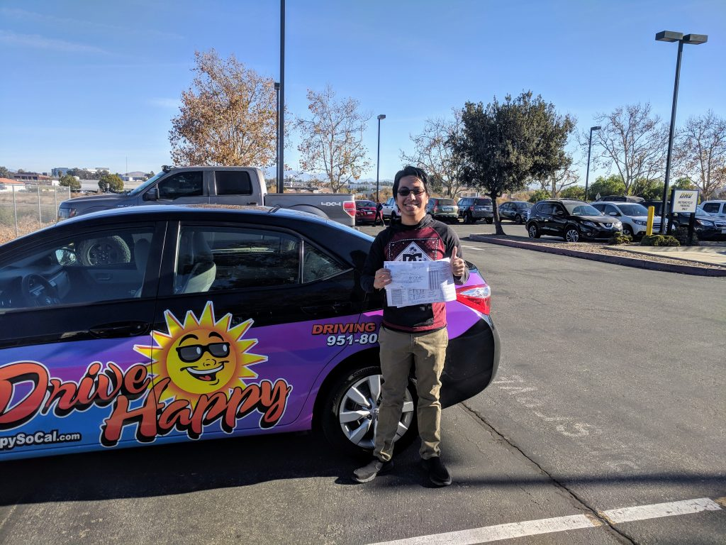 Francis from Canyon Lake took driving lessons with Josh and passed his Drive Test at the Temecula DMV this morning with Drive Happy!